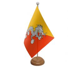 BHUTAN - TABLE FLAG WITH WOODEN BASE